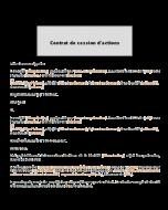 Contrat de cession d'actions