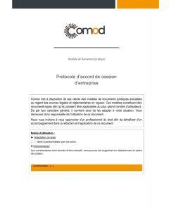 Protocole d'accord de cession d'entreprise