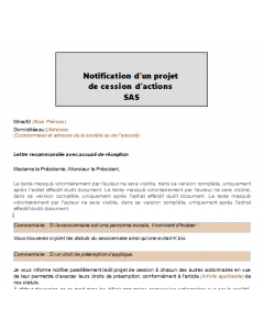 Notification d'un projet de cession d'actions SAS