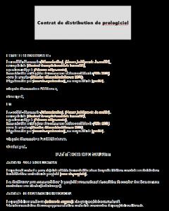 Modèle de contrat de distribution de progiciel
