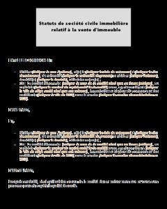 Modèle type de statuts de SCI relative à la vente d'un immeuble