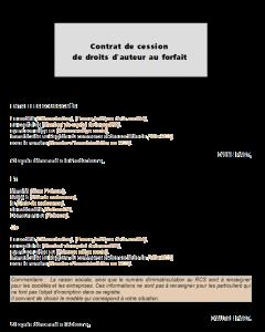 Contrat de cession de droit d'auteur au forfait