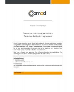 Contrat de distribution exclusive (en Anglais) - Exclusive distribution agreement