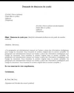 Modèle de demande de démission du syndicat de copropriété