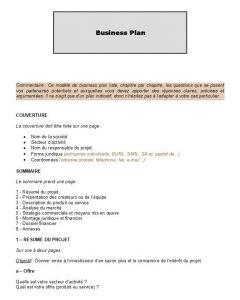 Modèle de Business Plan