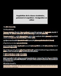 Assignation en référé : Acquisition de la clause résolutoire, paiement et expulsion