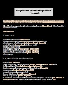 Modèle type d'assignation en fixation du bail renouvelé