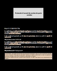 Protocole d'accord de cession de parts sociales à télécharger
