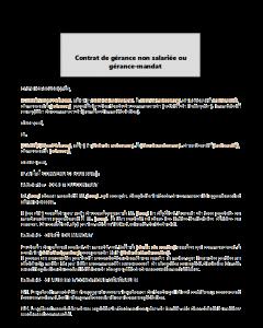 Contrat de gérance non salariée ou gérance-mandat