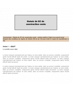 Modèle d'articles de statuts de SCI relatifs à l'objet et au passif social