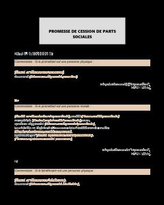 Modèle de promesse de cession de parts sociales
