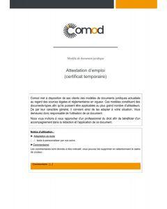 Attestation d'emploi (certificat temporaire)