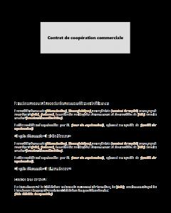 Modèle de contrat de coopération commerciale