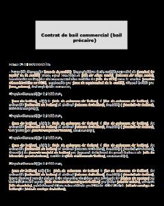 Modèle de contrat de bail commercial (bail précaire)