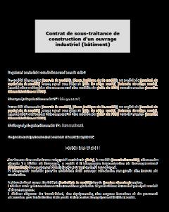 Contrat de sous-traitance de construction d'un ouvrage industriel (bâtiment)