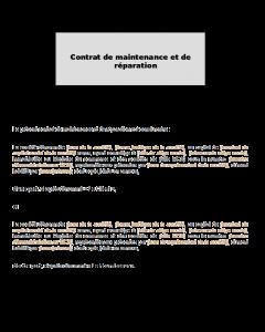 Modèle de contrat de maintenance et réparation