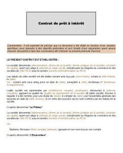 Modèle de contrat de prêt à intérêt