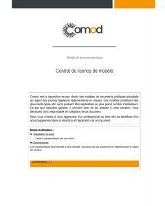 Contrat de licence de dessin et modèle