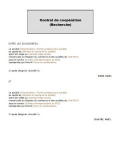 Modèle type d'accord de coopération pour une invention