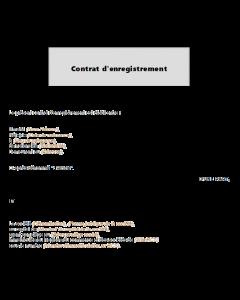 Contrat d'enregistrement de disque