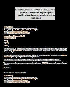 Lettre à adresser au journal d'annonces légales pour publication d'un avis de dissolution anticipée