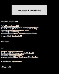 Deal memo de coproduction pour futurs partenaires