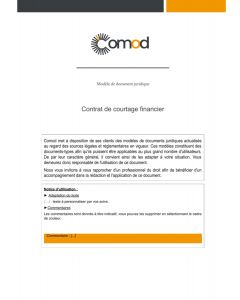 Contrat de courtage financier