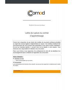 Lettre de rupture du contrat d'apprentissage