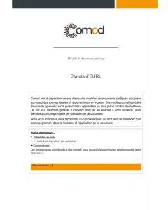Statuts d'EURL